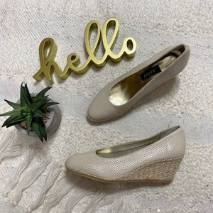 Bally 'Zipara' beige perforated wedge espadrilles